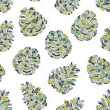 Pine cones seamless pattern. Hand-drawn vector seamless pattern with pine cones vector illustration