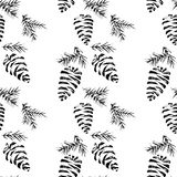 Pine cones seamless pattern. Vector illustration. Christmas gift wrapping Stock Photography