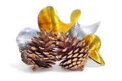 Pine cones and silver and golend garland Stock Photos