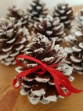 Pine Cones sitting on a wooden background, Christmas Card, Winter, Seasonal stock images