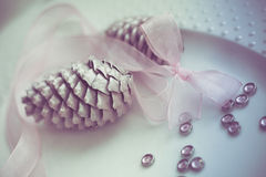 Pine cones on white dish with ribbon, purity decoration. Royalty Free Stock Photos