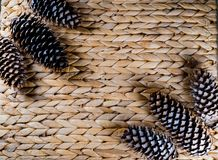 Bumps on a wicker background. Pine cones on a wicker basket royalty free stock photography
