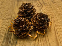 Pine cones with wood background Stock Photos