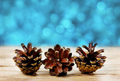 Pine cones on a wooden board against christmas bokeh Stock Photography