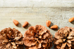 Pine cones on the wooden board Royalty Free Stock Photography