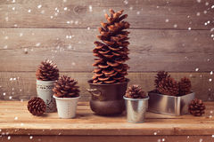 Pine corn decoration for Christmas table setting Stock Photo
