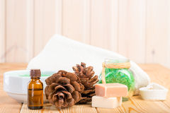Pine essential oil and bath salts close up Royalty Free Stock Photos