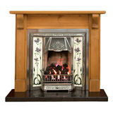 Pine fireplace. Victorian style tiled fireplace with pine surround Stock Photography