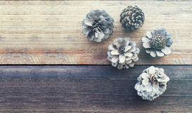 Pine flower on wood table. Soft Vintage filtered, Pine flower on wood table, flat lay, nature and relax concept Stock Photo