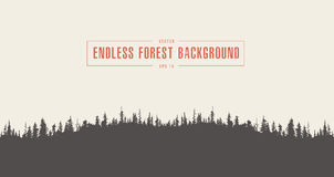 Pine forest background vector drawn sketch Stock Photo