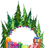 Pine forest and Christmas presents Royalty Free Stock Images