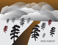 Pine forest in Japanese style with mountain. And evening sky Royalty Free Stock Image