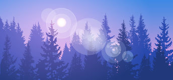 Pine Forest Landscape Mountain Sky Woods. Flat Vector Illustration Royalty Free Stock Image