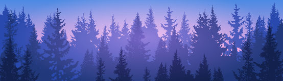 Pine Forest Landscape Mountain Sky Woods. Flat Vector Illustration Royalty Free Stock Images