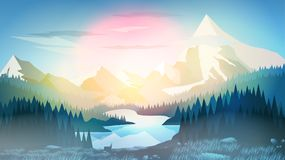 Pine Forest with Mountain Lake at Sunrise or Sunset - Vector Ill royalty free illustration