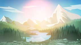 Pine Forest with Mountain Lake - Vector Illustration royalty free illustration