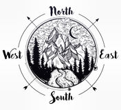 Pine forest mountain landscape, wind rose compass. Royalty Free Stock Photo