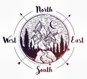 Pine forest mountain landscape, wind rose compass. Royalty Free Stock Image