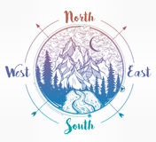 Pine forest mountain landscape, wind rose compass. Stock Photography