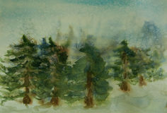 Pine forest on winter season with snow fall. Watercolor painting of pine forest on winter season with snow fall Royalty Free Stock Image