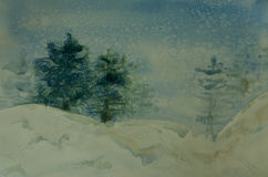 Pine forest on winter season with snow fall. Watercolor painting of pine forest on winter season with snow fall Stock Image