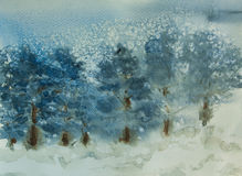 Pine forest on winter season with snow fall. Watercolor painting of pine forest on winter season with snow fall Stock Images
