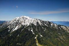 Pine forests and snowy cliffs in Karawanken, Austria / Slovenia Stock Photo