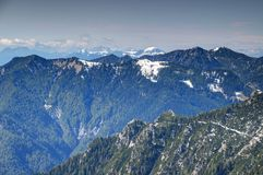 Pine forests and steep ridges, Karavanke / Karawanken, Slovenia Stock Photo