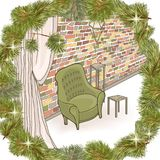 Pine frame  loft  Brick wall. Cozy interior in loft style with green armchair and a brick wall in a romantic frame, a wreath of Christmas tree branches with Stock Photography