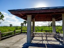 Pine Glades Natural Area in Florida Swamps. Wooden hut and picnic tAble in a large grass field royalty free stock photography