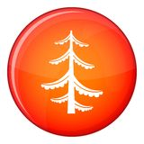 Pine icon, flat style. Pine icon in red circle isolated on white background vector illustration Royalty Free Stock Photos