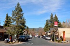 Pine Knot Avenue in Big Bear Lake, California. Big Bear Lake, California, United States of America - December 2, 2017. View of main street, Pine Knot Avenue, in royalty free stock photos