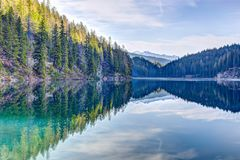 Pine lake mountain  Inverted reflection in water stock image