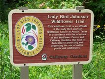 Lady Bird Johnson Wildflower Trail Sign. PINE MOUNTAIN, GEORGIA-JUNE 5, 2018: This sign at Callaway Gardens indicates that this trail to protect native plants is stock photo