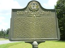 Pine Mountain Valley Georgia Resettlement Marker royalty free stock images