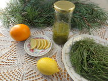 Pine needles lemon beverage cooking. Pine needles lemon beverage, cooking vegetarian healthy food with wild plants royalty free stock photography