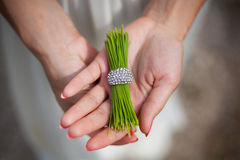 Pine needles with a ring in the hands of girl Royalty Free Stock Photos