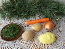 Pine needles tortilla cooking. Vegetarian healthy food with wild plants, potato and carrot stock photo