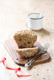 Pine Nut Cherry Big-Muffin with Streusel Topping Royalty Free Stock Photo