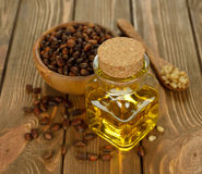 Pine nut oil. On brown background Royalty Free Stock Images