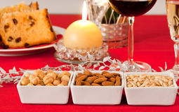 Pine nuts, almonds and hazelnuts Royalty Free Stock Photo