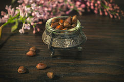 Pine nuts in ancient bowl Royalty Free Stock Photo