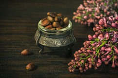 Pine nuts in an ancient bowl Royalty Free Stock Photography