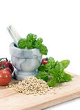 Pine Nuts & Basil Stock Photography