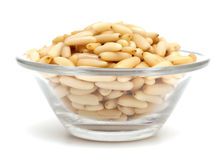 Pine nuts on a glass bowl Royalty Free Stock Photo