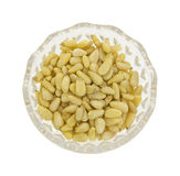 Pine nuts in glass dish Royalty Free Stock Image