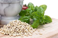 Pine Nuts (pignolias) & Basil Royalty Free Stock Photography