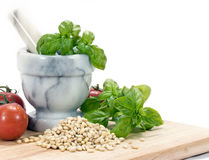 Pine Nuts (pignolias) & Basil - horizontal Stock Photos