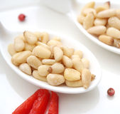 Pine nuts. Some fresh pine nuts on a spoon royalty free stock photo