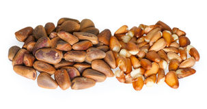 Pine nuts on the white Stock Photos